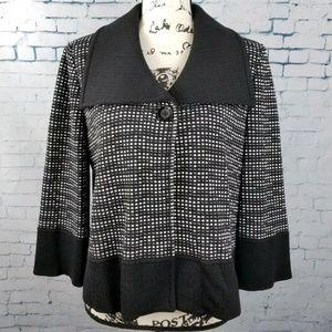 St John Women Knit Blazer Checkered Black White 8